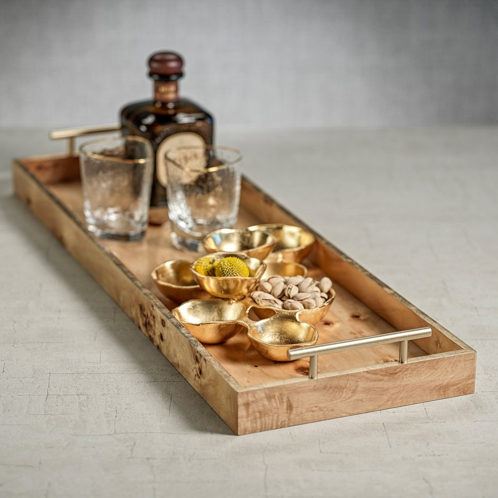 Leiden Burlwood Rectangular Tray with Gold Handles - Large