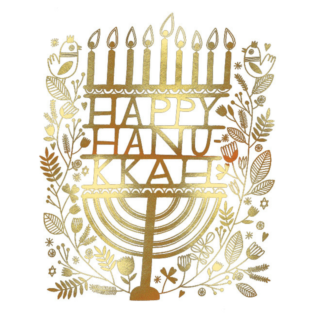 Hannukkah Candles FOIL Holiday Card