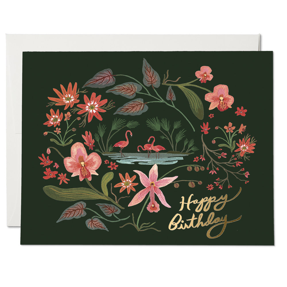 Pink Flamingos FOIL Birthday Card