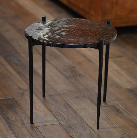 Scopa Black Horn Side Table