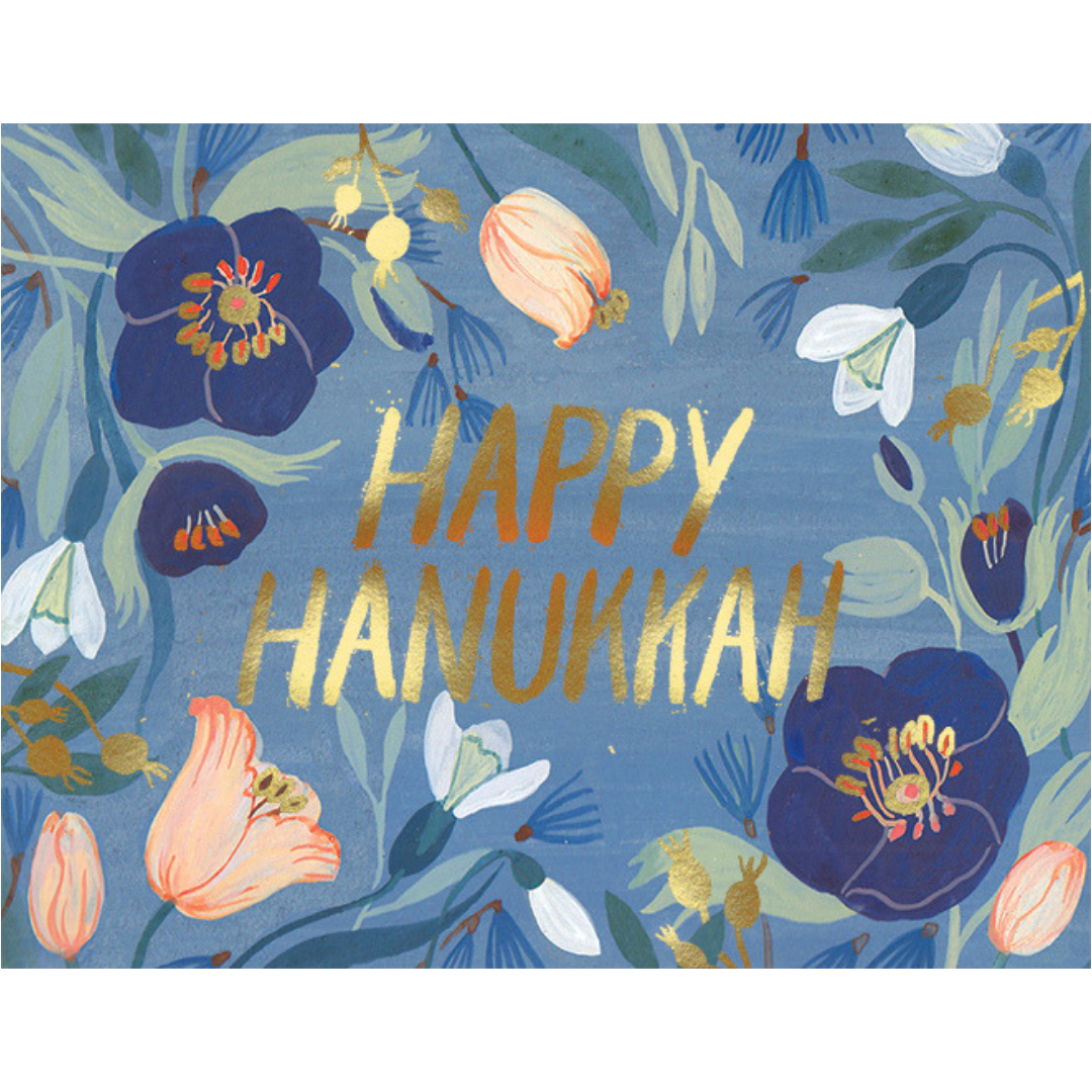 Hannukkah Flowers FOIL Holiday Card