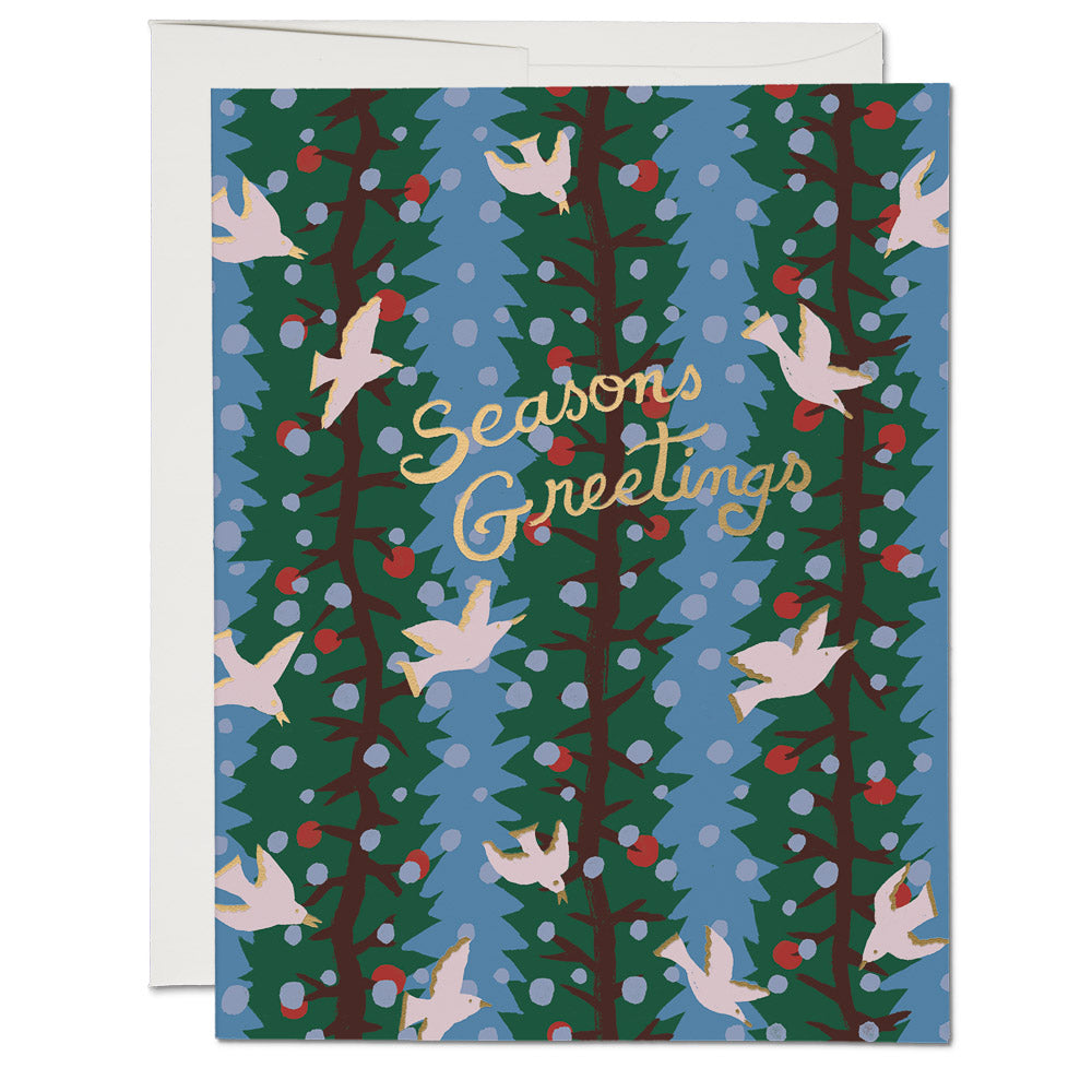 Holly Doves FOIL Holiday Card
