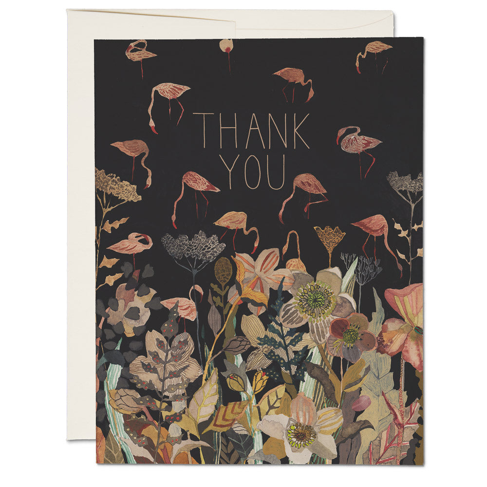 Floral Flamingo Thank You Card - CARLYLE AVENUE