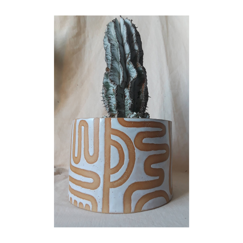 Wiggly Pattern Ceramic Planter
