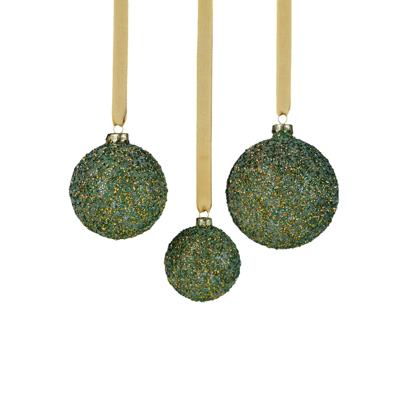 Beaded Glass Ball Ornament - Green