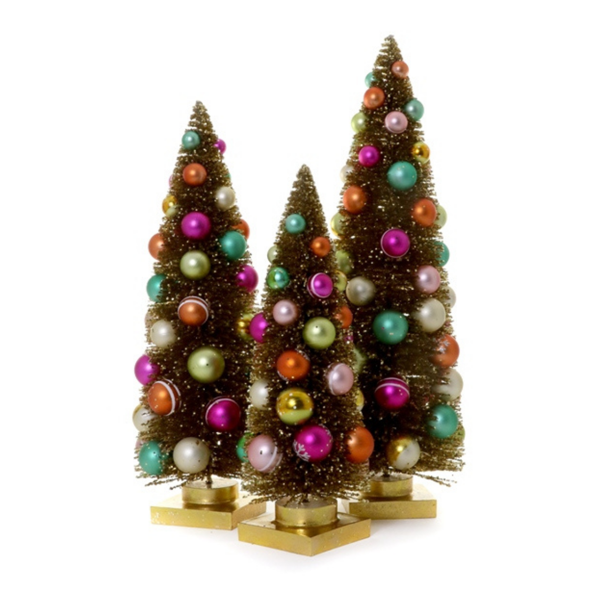 Set of 3 Rainbow Trees - Gold