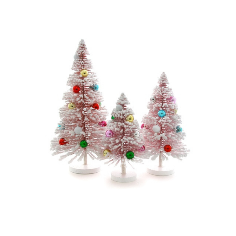 Set of 3 Snow Forest Trees - Pink w/Rainbow Balls