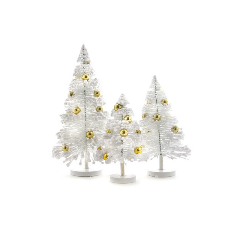 Set of 3 Snow Forest Trees - White w/Gold Balls