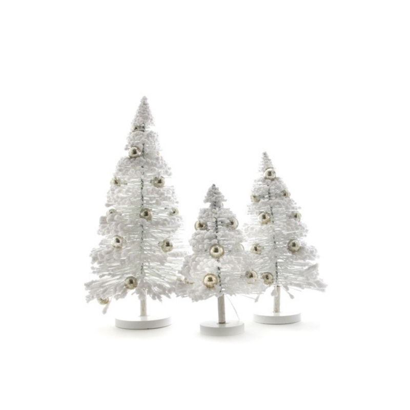 Set of 3 Snow Forest Trees - White w/Silver Balls