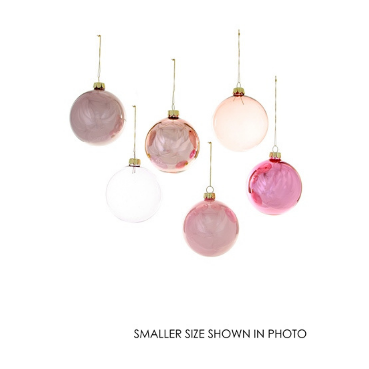 Giant Rose Hue Ornament Assortment - Set of 6