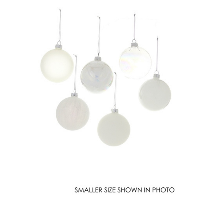 Giant White Hue Ornament Assortment - Set of 6