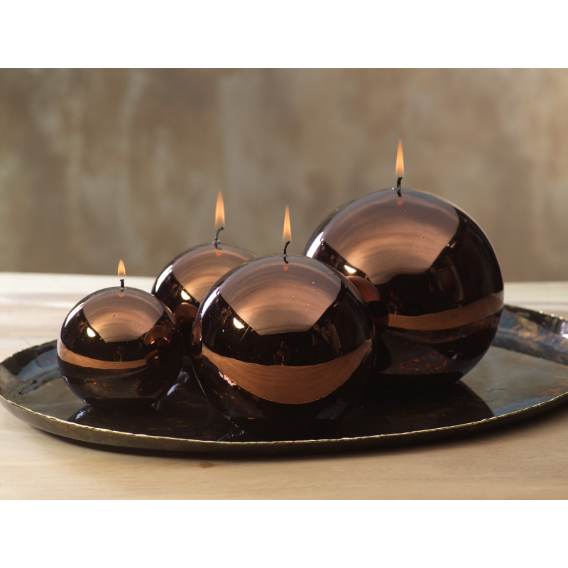 Shiny Metallic Ball Candle - Chestnut
