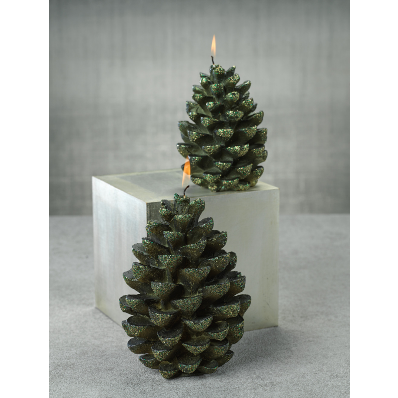 Green Velvet Pinecone Candle w/Glitter - CARLYLE AVENUE