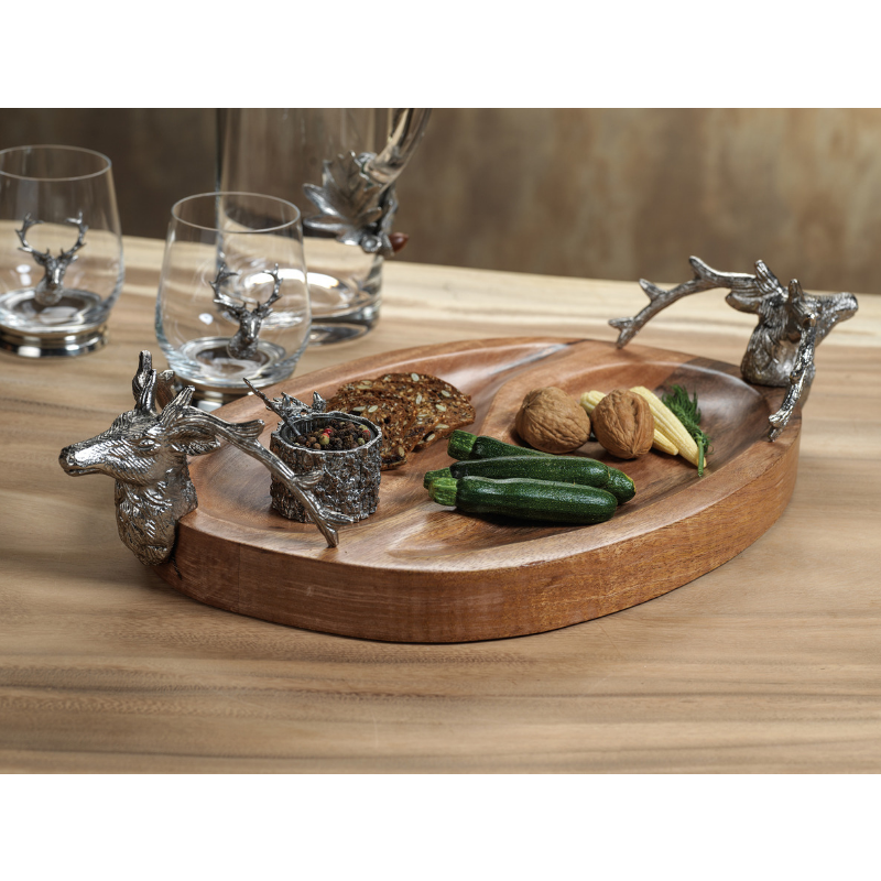 Stag Head Wooden Condiment Bowl