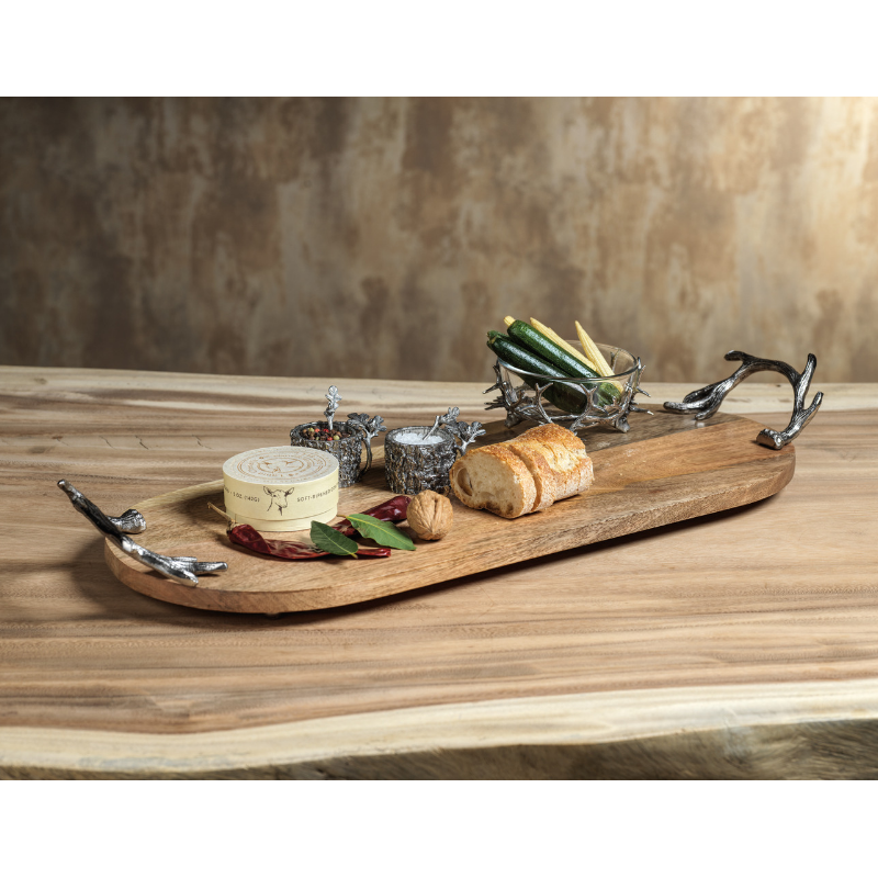 Wooden Oval Tray w/Antler Handles - CARLYLE AVENUE