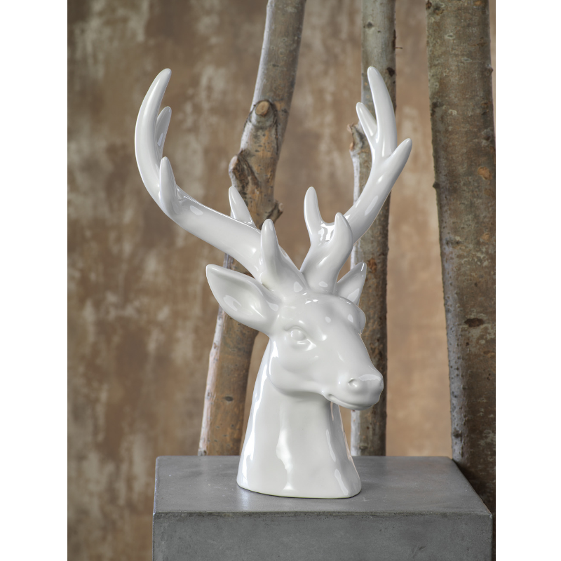 Ceramic Stagg Head - White - CARLYLE AVENUE