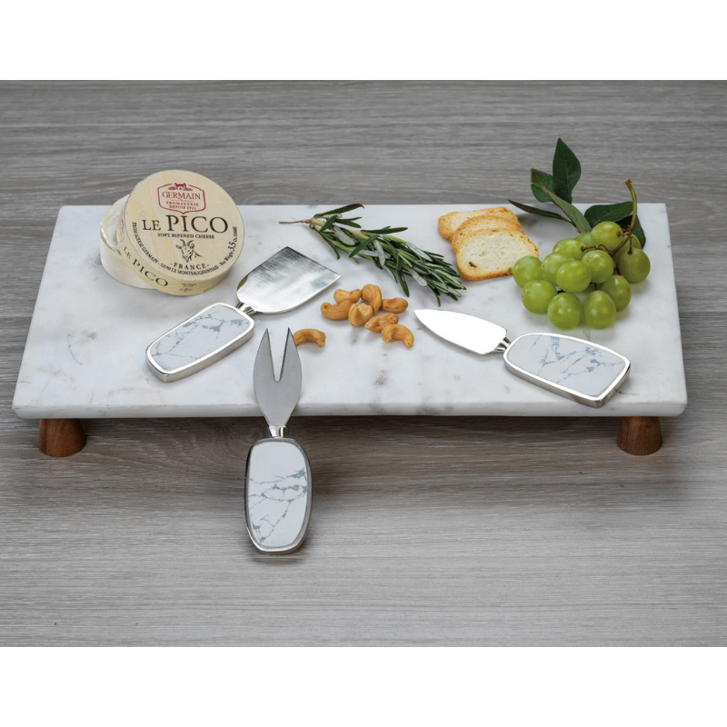 Amalfi Marble Cheese Tray on Acacia Wood - CARLYLE AVENUE