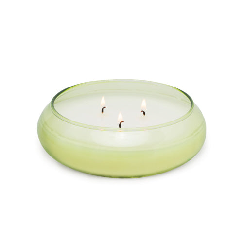 Bamboo Bubble Glass Candle Bowl - Green Tea & Melon