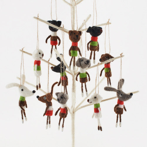 12 Assorted Cat & Dog Felt Ornaments
