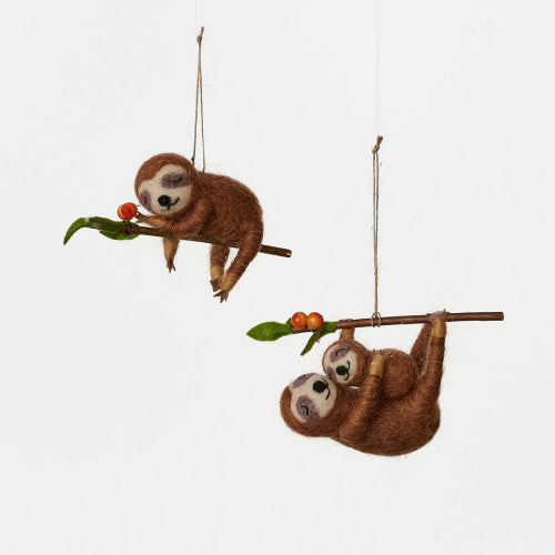 Sloth Ornaments - Set of 2 Assorted