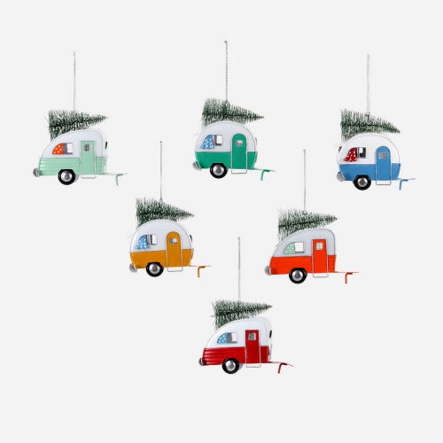 Camper Ornaments - Set of 6 Assorted Colors