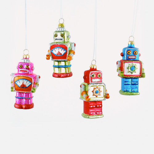 Set of 4 Assorted Mini Robot Ornaments