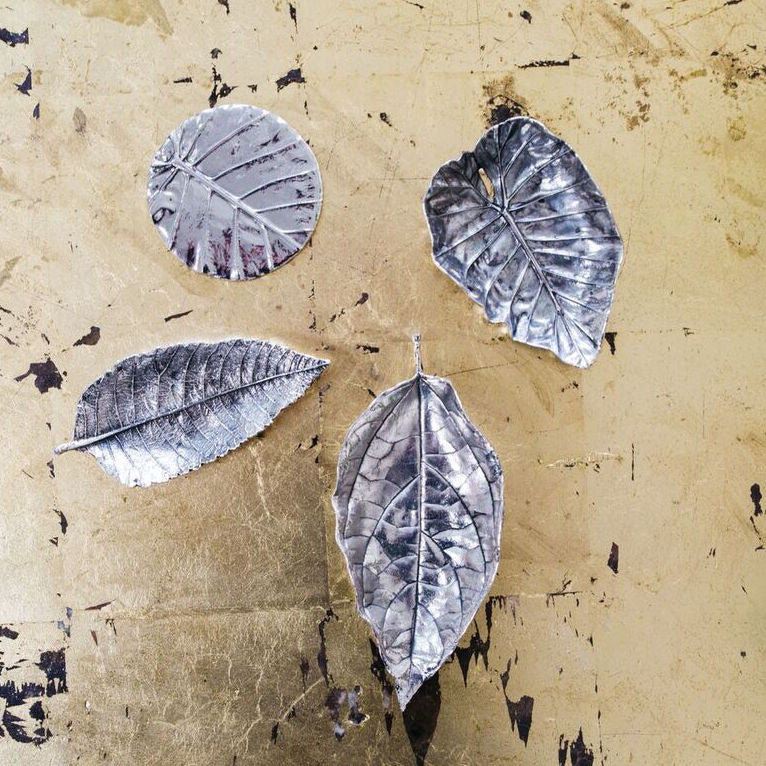 Antique Pewter Leaf Tray - Set of 6 - CARLYLE AVENUE
