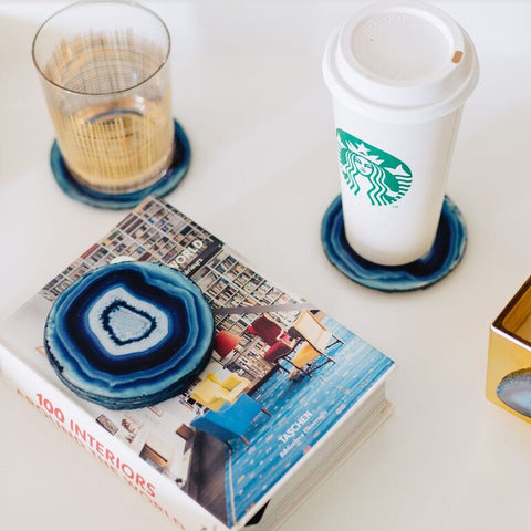 Azul Faux Agate Coasters - Set of 4