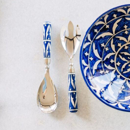 Mazagan Hand Painted Two Piece Salad Server Set