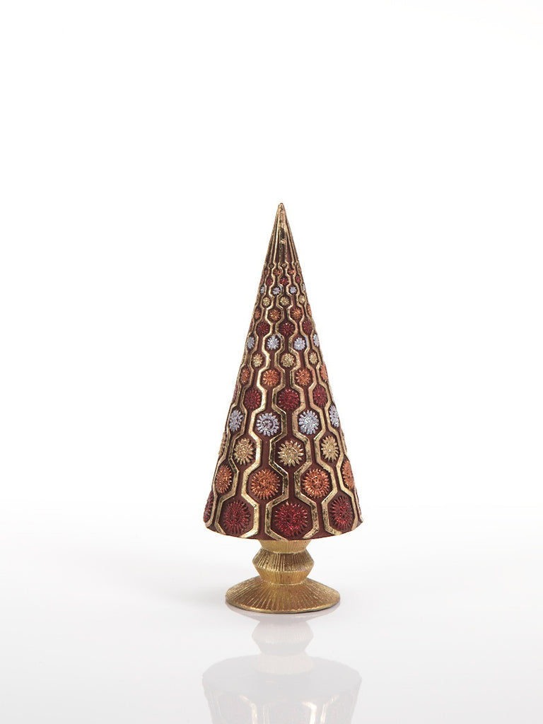 Kalliste Cone Tree with Ribbed Base and Ornaments - Tree / Small - CARLYLE AVENUE - 2