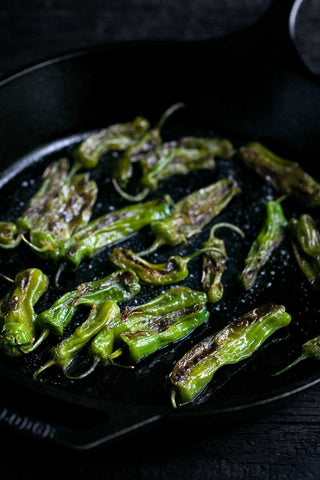 Blistered Shishito Peppers with Sriracha