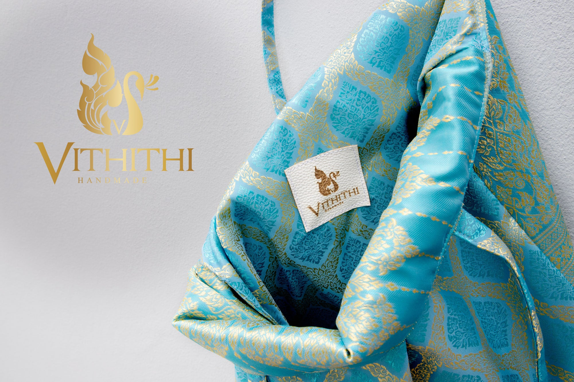 Vithithi Thai Silk Tote Bag showing inside and hande