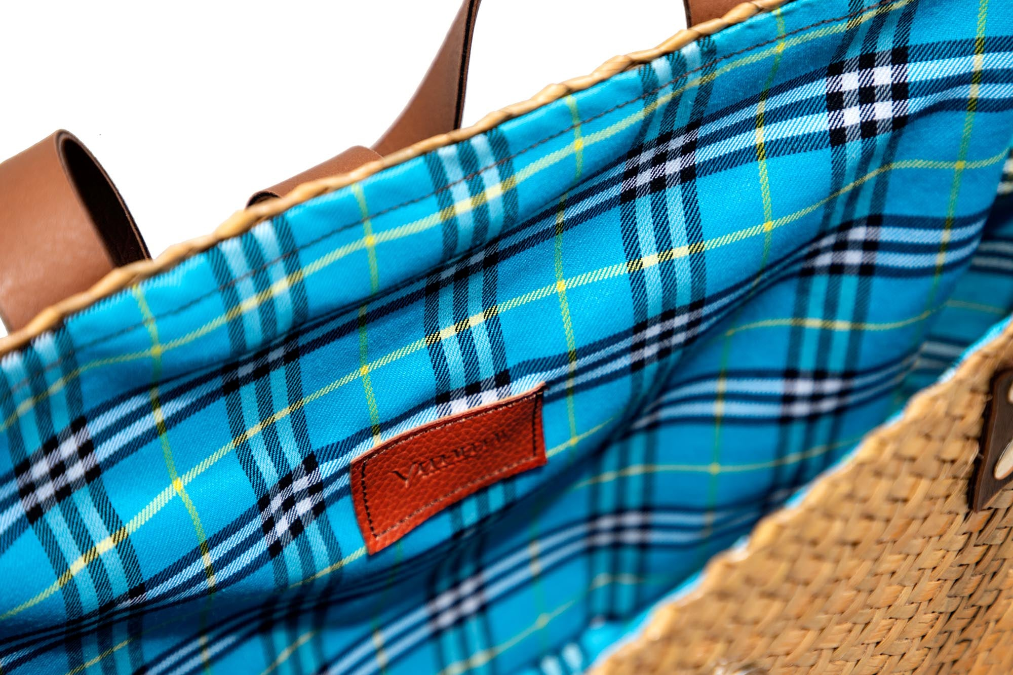 Inside Krajood Bag coloured chequered fabric interior lining and vithithi handmade label