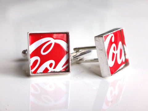 Recycled Glass Coca Cola Bottle Cufflinks - Silver Plated