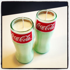 One Hand Poured Cola Scented Soy Candle in Cut Coca-Cola Glass Bottles