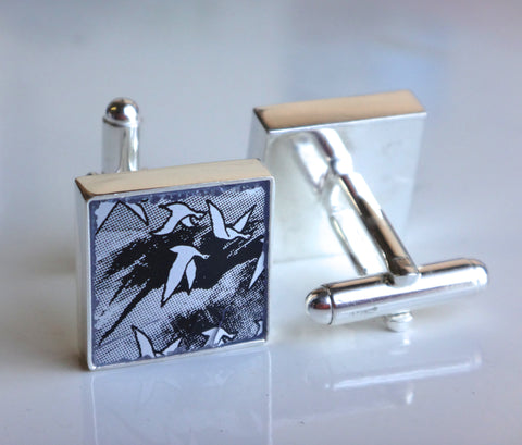 Recycled Grey Goose Bottle Cufflinks - Silver Plated