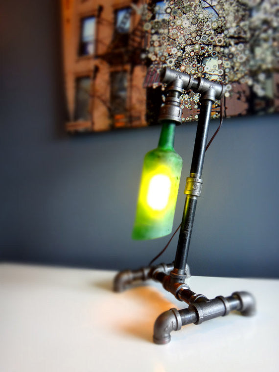 Industrial Pipe Lamp   Jameson Whiskey Bottle Black Iron Table Lamp