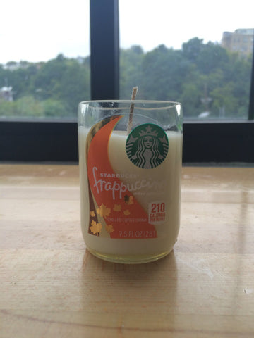 Pumpkin Spiced Latte Candle Hand Poured into Starbucks Recycled Glass Bottle