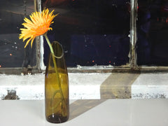 Handmade Flower Vase from Recycled Red Wine Bottle