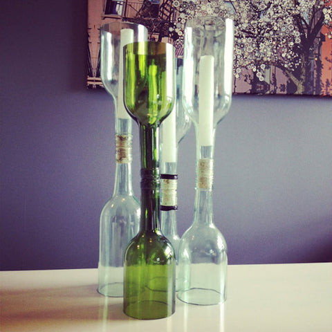 Recycled Glass Wine Bottle Candle Holder