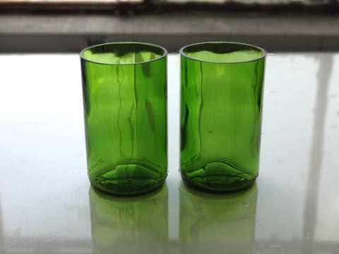 Wine Bottle Drinking Glasses - Up-cycled from Used Wine Bottles - Set of 2