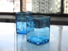 Cyan Blue Bombay Sapphire Drinking Glasses - Set of Two
