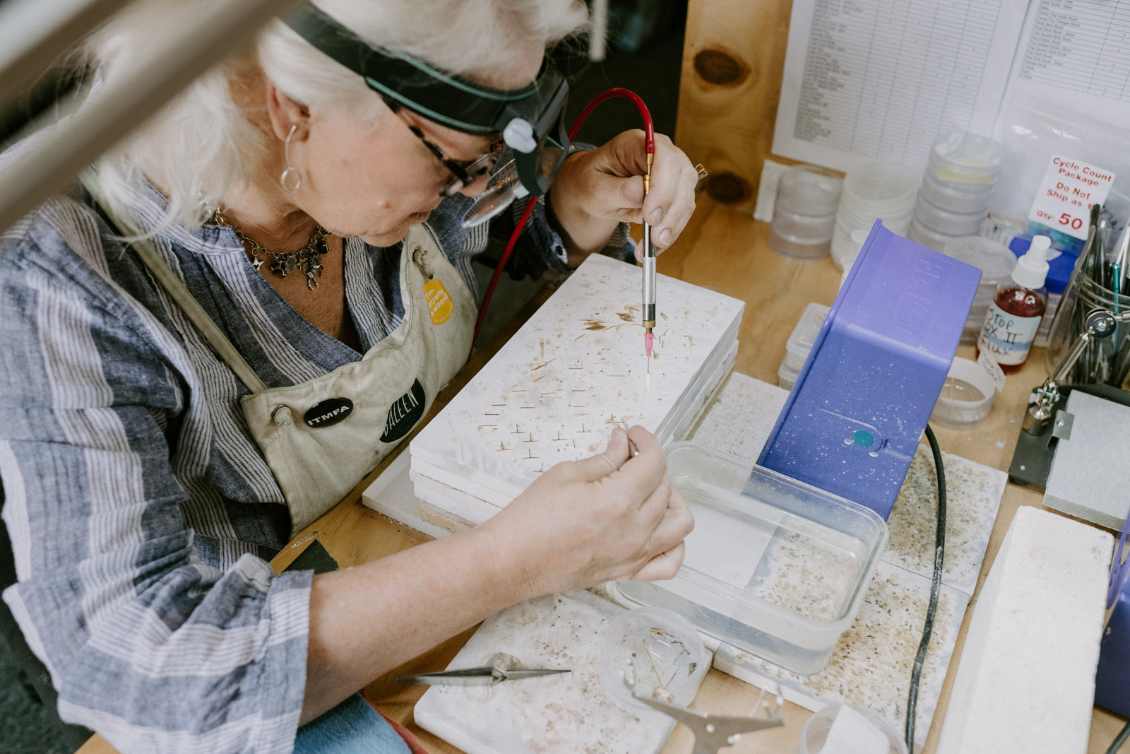 Baleen jewelry being made by hand