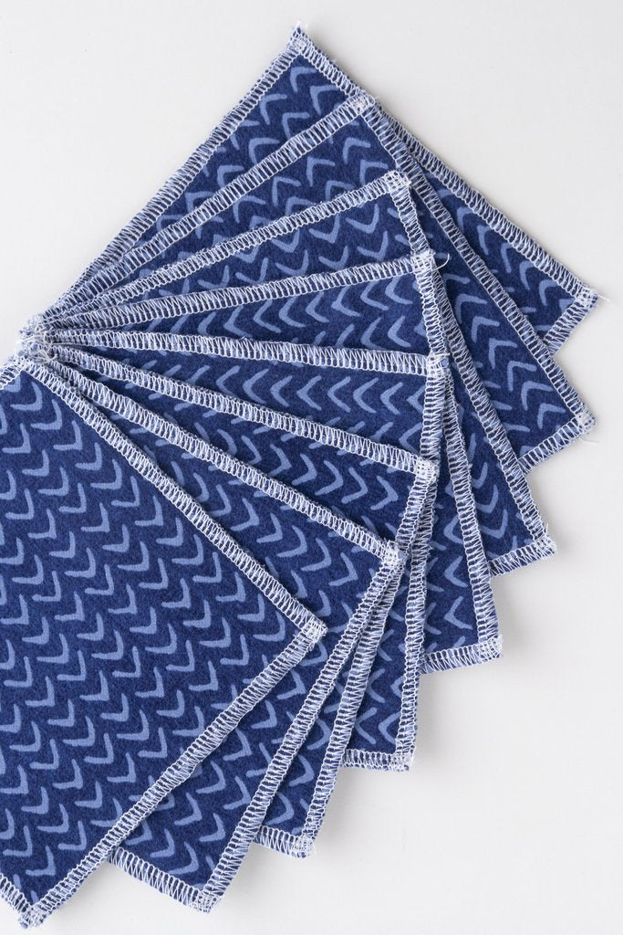 Set of 8 Reusable Facial Cloths - Indigo