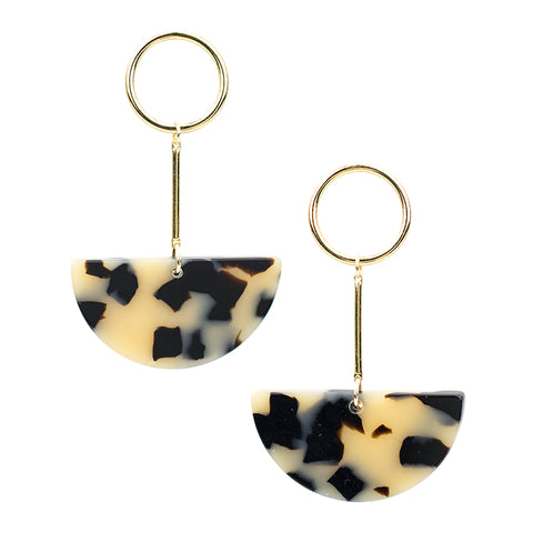 Lunette Earrings - Beige Tort