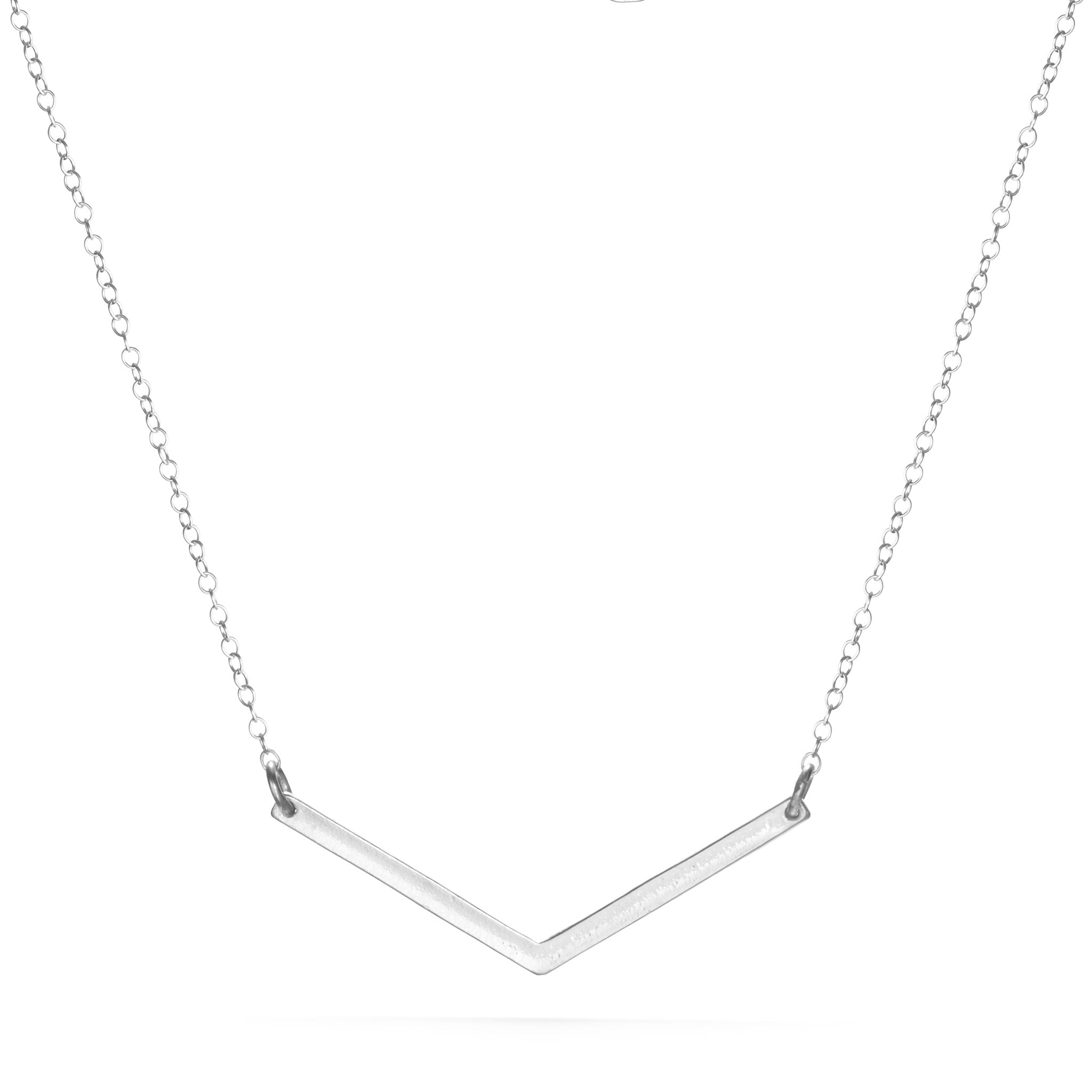 Small V Necklace - Silver