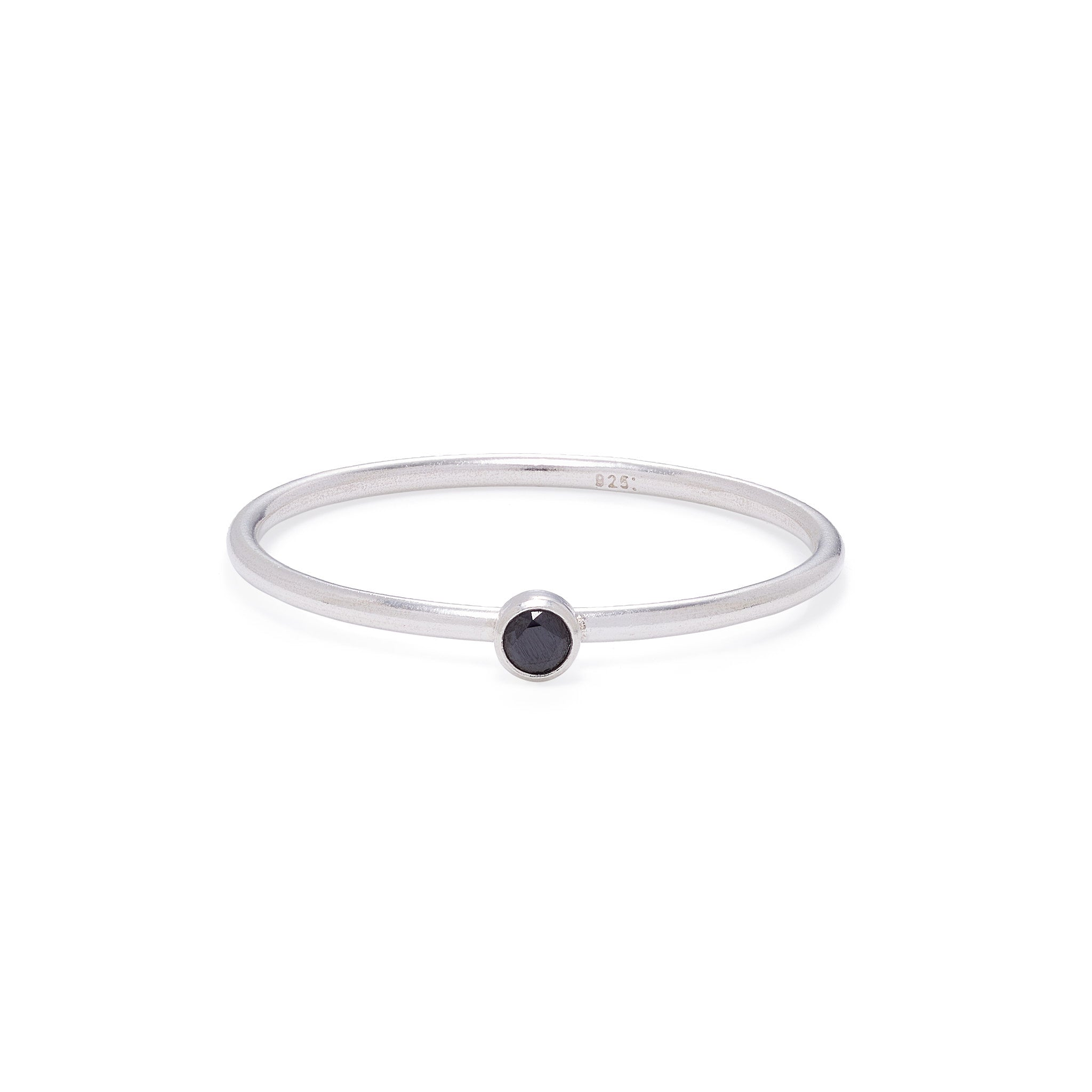 Black Spinel Stacking Ring - Silver