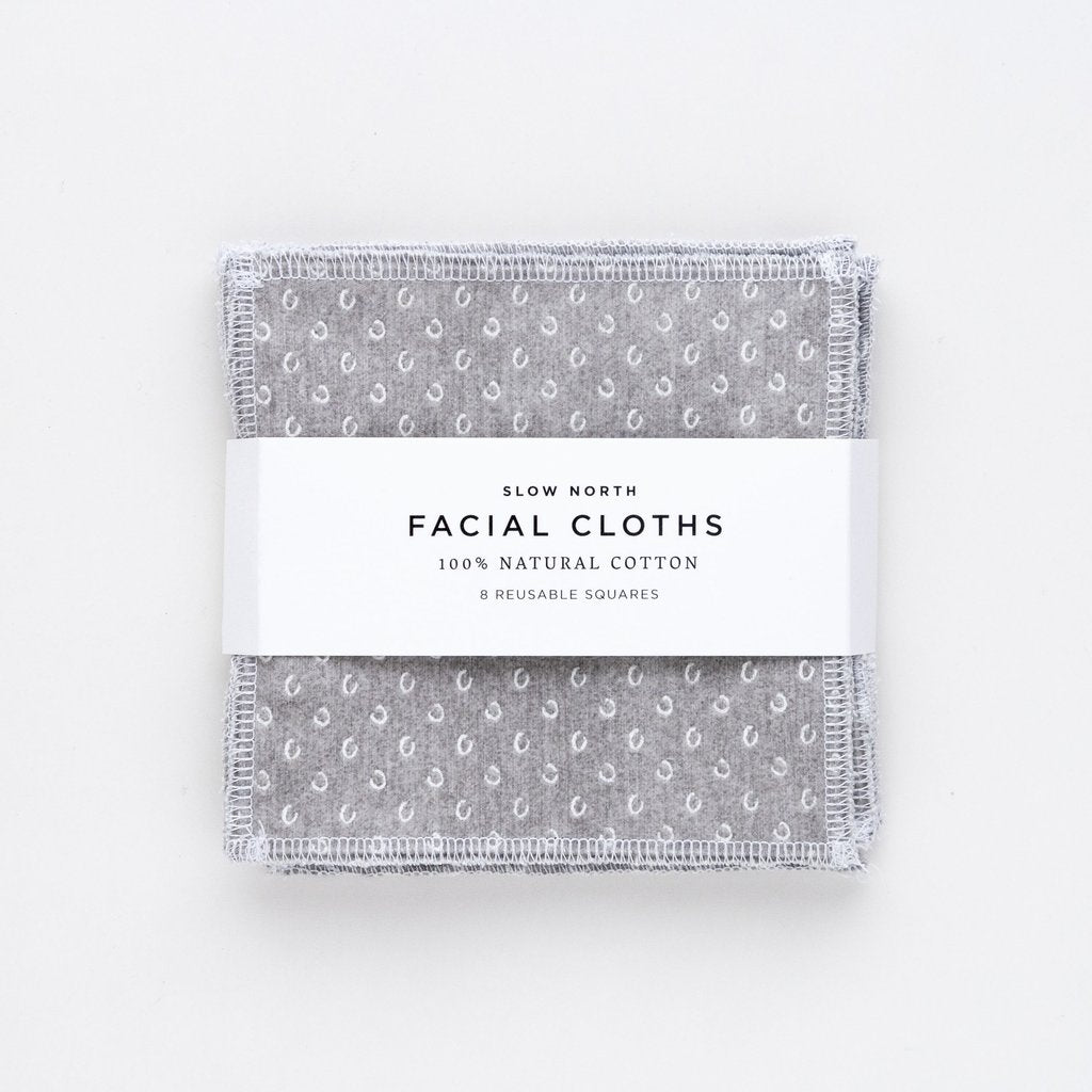Set of 8 Reusable Facial Cloths - Slate