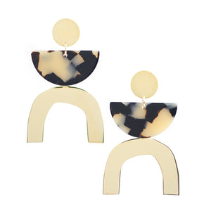 Arch Earrings - Beige Tort