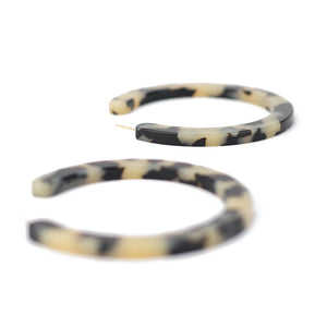 Large Slice Hoops - Beige Tort